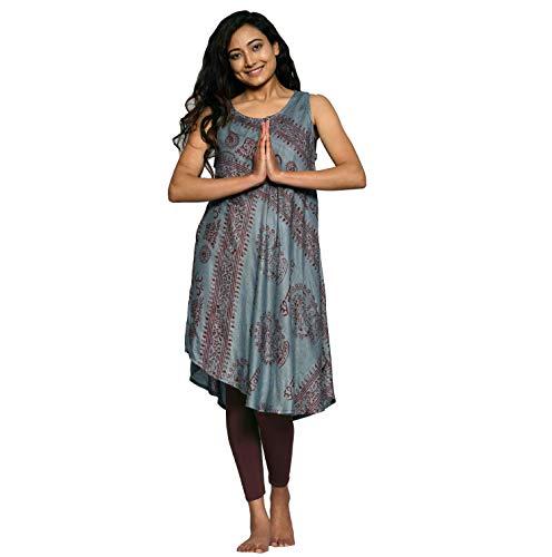 Simandra Trägerkleid Om leichtfallendes Sommerkleid - ärmelloses Strandkleid - Boho - Ethno - Goa - Alternative Mode - Fair-Fashion Farbe Grau, Größe L/XL