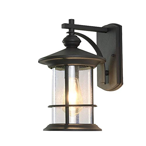 Nanyun wandhouder, verlichting voor buiten, licht, met zwart zand, van aluminium met glas, geschikt voor terras, deur, hek, tuin, chalet, garage, spiegel