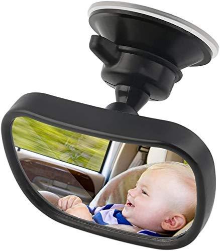 ICDOT Bebé Espejo retrovisor del Coche,  Universal Ajustable del Asiento de Coche del Espejo retrovisor de Seguridad for niños con Clip del lechón (Color : Negro)