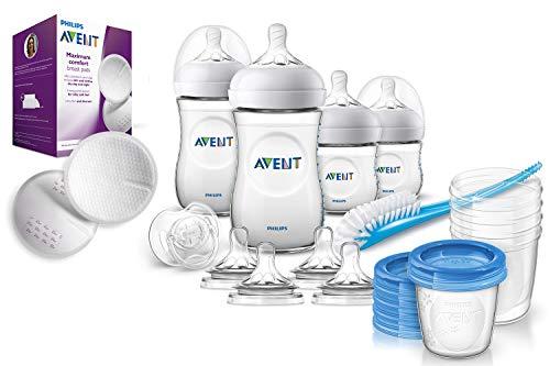 Philips Avent Natural Flaschenset SCD301/02 für Neugeborene, 5x Becher für Muttermilch & 100er Pack Stilleinlagen