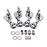 SUPVOX 2R2L Guitar Tuning Pegs Tuners Machine Skull Head Guitar String Tuning Pegs Machine Head Tuners for 4 String Guitar Ukulele Parts (Silver)