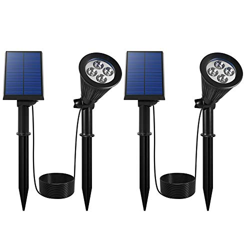YINGHAO Solar Spot Lights Outdoor [Upgraded] 2 in 1 Installation Waterproof Separated Panel and Light Outdoor Solar Landscape Light Auto On/Off for Yard Garden Flag Pole Wall Pathway Cool White 2 Pack