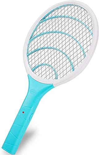 HYJWYAS Vuelo eléctrico Swatter Mosquito eléctrico Volando Swatter 3000V Trampa de Mosca Zapper USB Recargable LED iluminación 3 Capas Protector de Malla para Interiores y Exteriores Verde-Cielo Azul