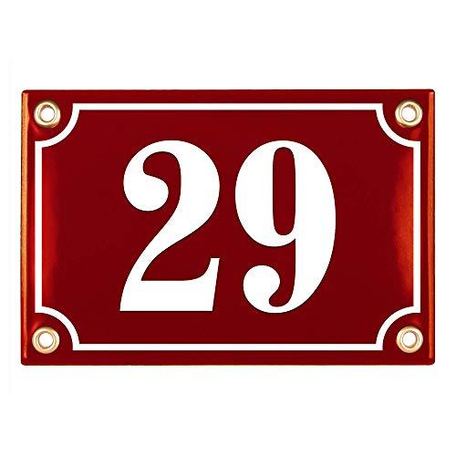 Sosenco Hausnummerschild Hausnummer - 10x15 cm - Keramik Emaille - Wetterfest - Personalisiert - Emailschild (Rotwein)