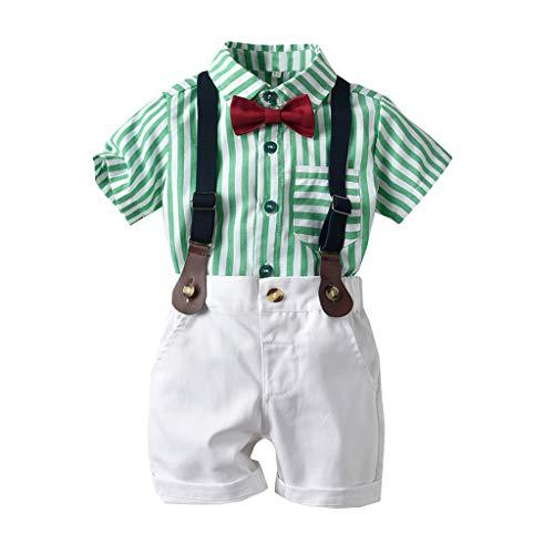 Toddler Bébé Garçons Gentleman Été Enfant Garçon Pas Cher Vêtements Pas Cher Ensemble De Noeud Papillon Rayé T-Shirt Tops + Shorts Salopette Tenues(Vert,80)