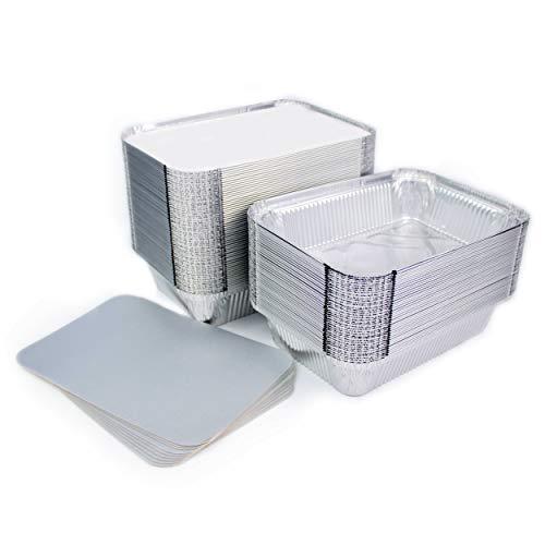 Lote de 100 bandejas de aluminio desechables con tapa para transportar alimentos, congelar, cocinar (800 ml)