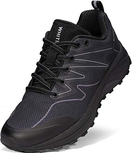 WHITIN Mens Trail Running Hiking Shoes, Size 11 Mesh Lightweight Comfortable Breathable Male Athletic Jogging Tennis Workout Sneaker Outdoor Sport Runny Cushioning Lace Up Gym All Black 45