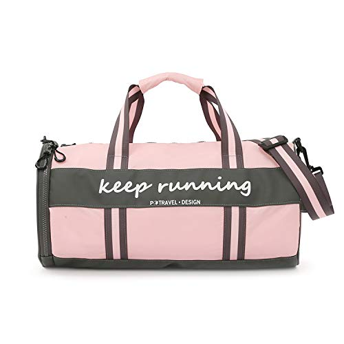 FANDARE Sac de Voyage Sac de Sport Travel Duffel Bag Femmes Hommes Sac Bandoulière d'épaule Gym avec Compartiment Chaussures Sac à Main de Plage Sac de Rangement Imperméable Polyester Rose
