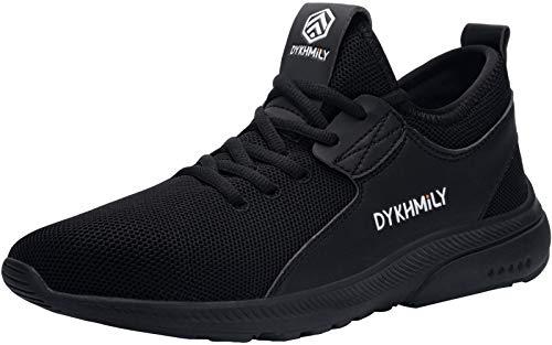 DYKHMILY Zapatos de seguridad para hombre y mujer, impermeables, ligeros, deportivos, transpirables, con puntera de acero, color Negro, talla 42 EU