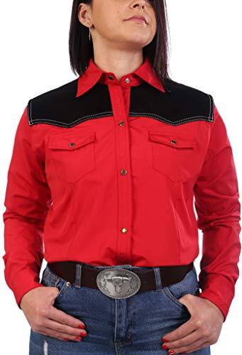 Last Rebels Country Line Dance - Camisa para mujer, rojo, hombros de piel, color negro rojo Small