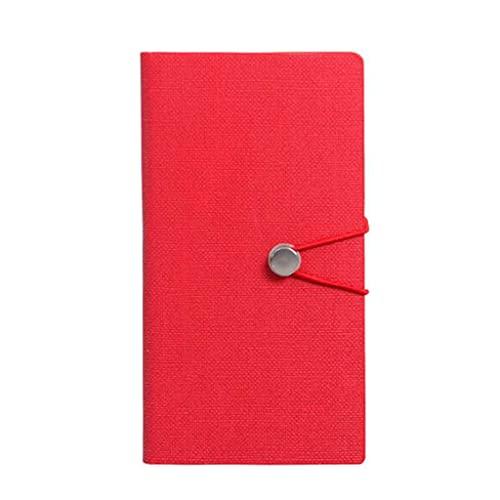 YUBIN Libro de Diario Cuadernos Diario Diario Hebilla metálica Atada con una Cuerda para el Libro de Escritura de Texto para Mujeres Hombres (7 Pulgadas * 3.9 Pulgadas) (Color : Red)