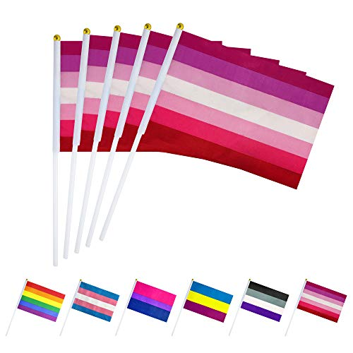 LoveVC 50 Pack Lesbian Pride Flag Small Mini LGBT Rainbow Stick Flags,Lesbian Rainbow Pride Party Decorations Supplies