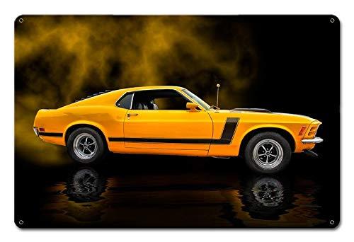 Maizeco 1970 Gul Mustang Boss 302 Fastback Inomhus Bar Poster Hem Man Cave Shop Öl 30 x 20 cm Metallskyltar Väggdekor Tennskylt