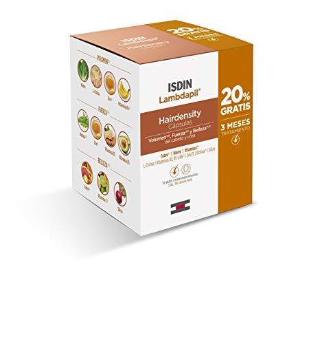 ISDIN Lambdapil Hairdensity, 180 Cápsulas, 20% Gratis, Complemento alimenticio con vitaminas, sales minerales y extractos de plantas para mantener el cabello y las uñas saludables