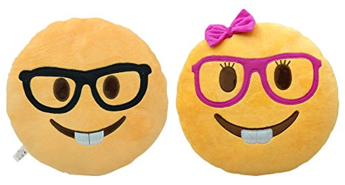 WEP 2 Pack Nerd and Lady Nerd Emoji Smiley Emoticon Cushion Pillow Stuffed Plush Toy Doll Poop Emoji Face Bed Pillow Home Living Room Decoration Pillows
