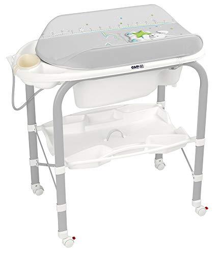 CAM Bade-Wickelkombination CAMBIO | Antikipp-Sicherheitssystem | klappbar & platzsparend | Made in Italy | Babybadewanne inkl. Babydusche | Wickelkombination (Häschen)