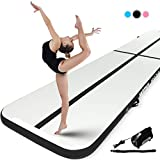 Murtisol 27ft Inflatable Gymnastics Training Mats Tumbling Mats 4 Inch Thickness for Home Use/Training/Cheerleading/Yoga/Water Fun with Electric Pump Black