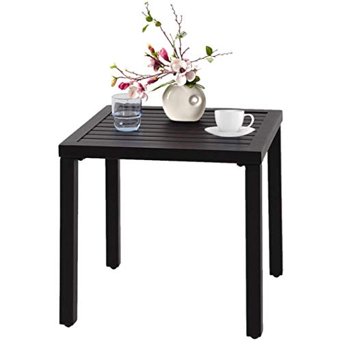 WOUOW Patio Table, Square Backyard Patio Coffee Bistro Table, Furniture Garden Table, Small Metal Square Side/End Table, Outdoor & Indoor for Garden Pool Side Balcony (Black) (Black)