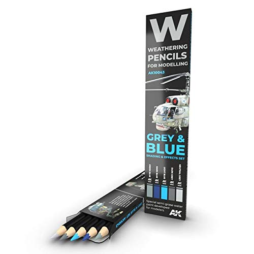 AK Interactive AK 10043, Grey and Blue Camouflages, Shading and Effect Weathering Pencil Modelling Set