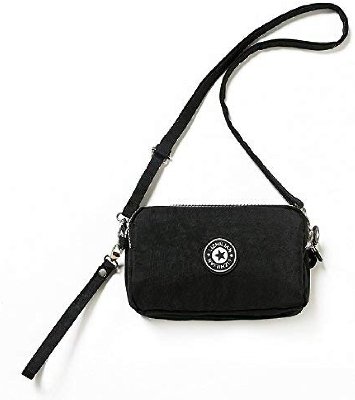 Girls Purse Small Bag Satchel Bag Mobile Phone Bag Three Zipper Large Capacity Zero Wallet Mini Mobile Phone Bag (color   Black)