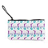Portafogli unisex, portamonete, bellissimo sassofono jazz musicale, borsa portamonete, borsa portatile con cerniera per rossetto, monete, contanti, carte di credito, cuffie USB per caricabatterie.