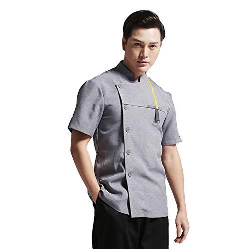 Jolie Hombres Gris Labor de Retazos Respirable Chaqueta Chef Manga Larga Profesional Camisa de Cocinero Trajes de Cocina,Short Sleeve,L