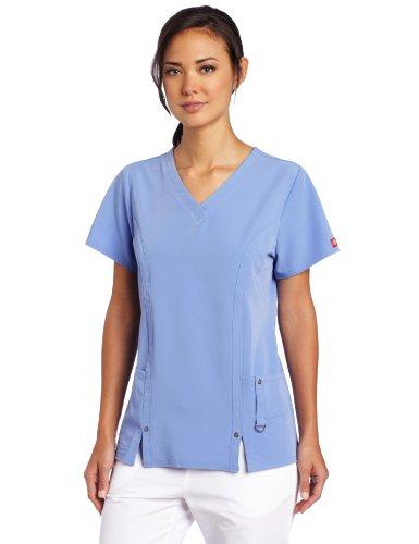 Dickies Women's Xtreme Stretch V-Neck Scrubs Shirt, Ceil Blue, Small