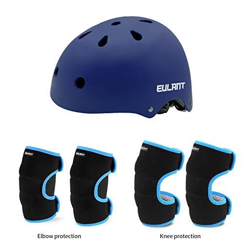 EULANT Set de Casco y Protección para Niños,Cascos Infantiles/Rodilleras/Coderas, Niños Juego de Protecciones para Patinaje Ciclismo Monopatín Patines Scooter BMX Monopatín