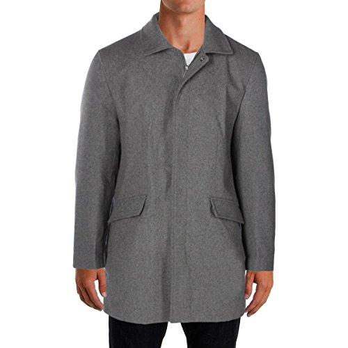 Perry Ellis Mens Wool Overcoat Coat Gray L