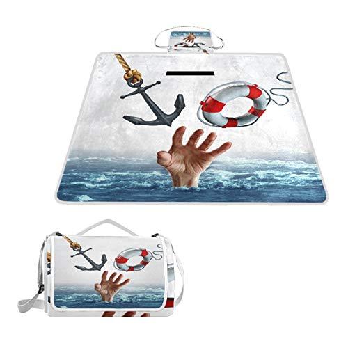 XINGAKA Picknickdecke,Leben Tod Konzept Waschbecken Schwimmen Symbol,Outdoor Stranddecke wasserdichte sanddichte tolle Picknick Matte