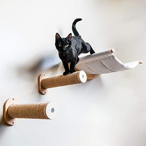 Wall Mounted Cat Hammock with Two Steps - Modern Beds and Perches for Cats - Premium Kitty Furniture for Sleeping, Playing, Climbing, and Lounging - Easily Holds up to 40 lbs