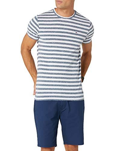 Tommy Jeans Herren Essential Stripe Kurzarm T-Shirt Blau (Black Iris 002) X-Large