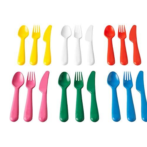 Besteck-Set, mehrfarbig, kratzfest, grifffest, unschädlicher Kunststoff, Materialien: Polypropylen-Kunststoff, 18-teilig