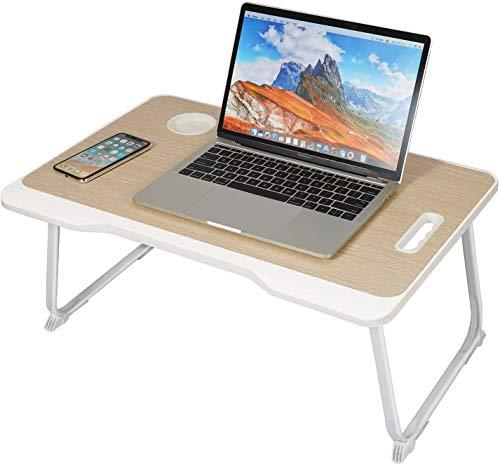 Tavolino da letto per laptop, con cassetto, vassoio la colazione, colazione portabibite, pieghevole, supporto tavolo letto, il del divano beige beige.