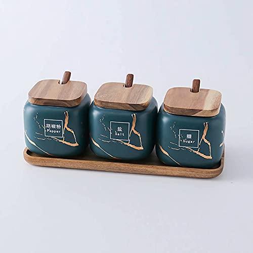 Zestaw butelek na przyprawy, nordycki ceramiczny słoik na przyprawy pudełko na przyprawy kreatywny dom kuchnia trzyczęściowy zestaw, domowy szklany słoik na przyprawy, uszczelnienie odporna na wilgoć butelka na przyprawy, kuchnia przyprawy Seasoni