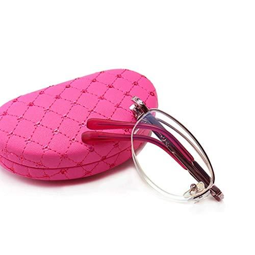 Augenoptik Brille 2.0, Folding Halbrand Brillen Lesebrille, Progressive multifokale, Frühlings-Scharnier, Anti Blaulicht blockierenden, Anti Glare, Frauen Schick, Brillen (Color : Pink, Size : 1.0)