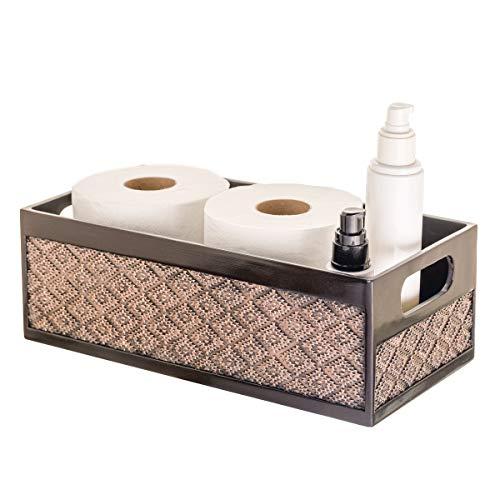 Dublin Bathroom Decor Box Toilet Paper Storage Basket - Decorative Bathroom Storage Toilet Tank Topper - Bathroom Organizer Countertop Container for Organization Modern Brown Bathroom Decor Storage
