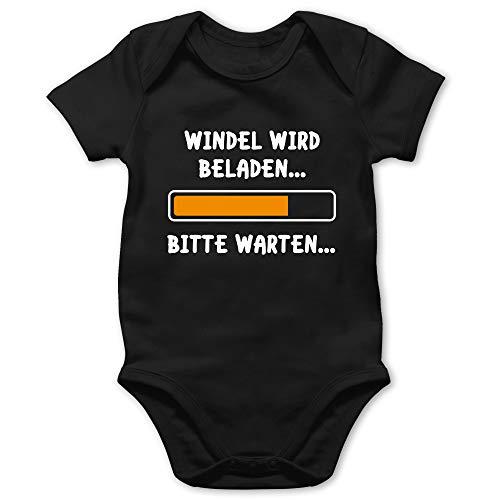 Shirtracer Sprüche Baby - Windel Wird beladen - 3/6 Monate - Schwarz - Baby Body windel Wird beladen - BZ10 - Baby Body Kurzarm für Jungen und Mädchen