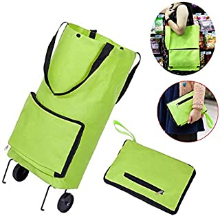 Rubik Collapsible Folding Shopping Cart Trolley Rolling Bag with Foldable Wheel and Hand-straps, Grocery Cart for Daily Use
