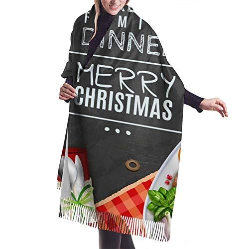 Pizeok Great Family Diner Frohe Weihnachten Elegante Kaschmir Soft Shawl Wraps Wrapped Winter Pashmina Stola Schal für Damen