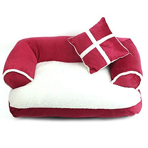 SHPEHP Cama para Gatos autocalentable para la Cama para Gatos con calefacción Reversible para Interiores para Mejorar Las articulaciones y la Cama para Perros Lavable en la máquina para Dormir-Red-M