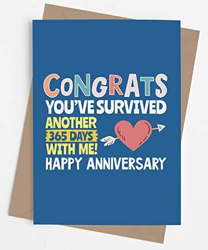 彼または彼女への面白い記念カード | 旦那様、奥様、ガールフレンド、ボーイフレンドへのオリジナル記念日のプレゼント | 男性または女性へのバレンタインのジョークカード | Congrats