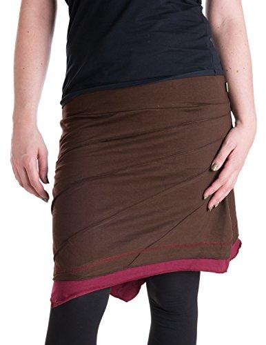 Vishes – Alternative Bekleidung – Knielanger Asymmetrischer Lagenlook Patchwork Rock aus Baumwolle braun 40