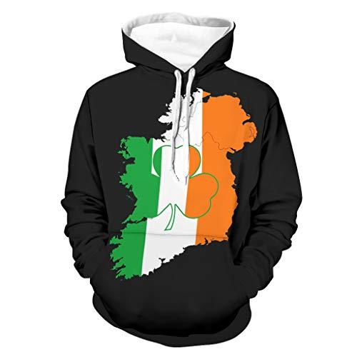 Sudadera con capucha para hombre con estampado de Shamrock Clover St Patrick, divertida, manga larga para conducir a un lado, con bolsillos, moldeador de cuerpo y sudadera con capucha blanco XXXXXL