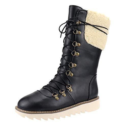 Kniehohe Stiefel, Damen Braun Leder Stiefel Warm Gefüttert Boots Stiefel Stiefeletten Schnür Schlupfstiefel Spanische Reitstiefel Slim Fit hoch Wildleder Stiefel
