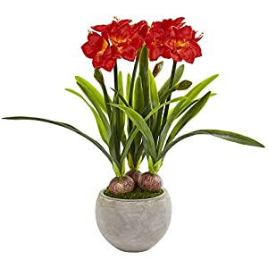 Nearly Natural Amaryllis Artificial Sandstone Bowl Silk Plants Red