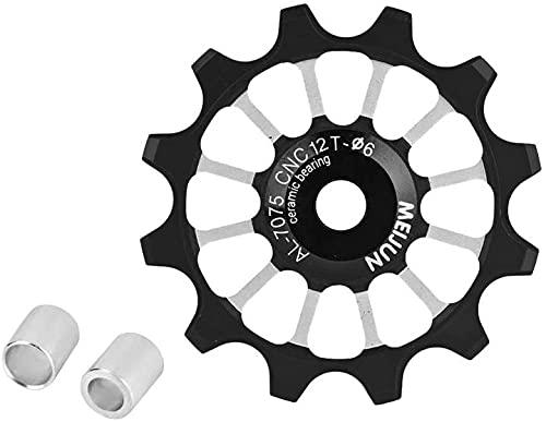 EPRHY Rueda de guía de bicicleta, 12T Jockey Wheels Polea de cambio trasero MTB Rueda de rueda de aleación de aluminio Rueda de polea Jockey de cerámica para bicicleta de 7/8/9/10 velocidades