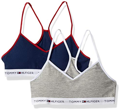 Tommy Hilfiger Girls' Crop Bra (Pack of 2),Flag Blue,S6/7