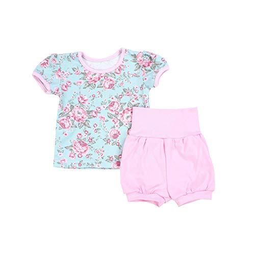 TupTam Baby Mädchen Sommer Bekleidung T-Shirt Shorts Set, Farbe: Rosen Grün/Rosa, Größe: 80-86