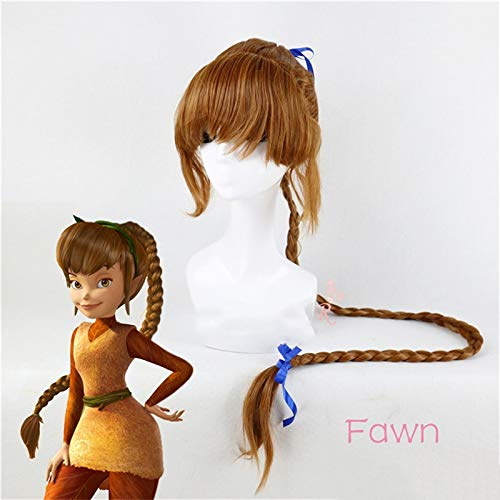 Peluca de cosplay de Peter Pan Fawn Pelcula Tinker Bell y el hada pirata Peluca de pelo sinttico de 120 cm de largo trenzas marrones para adulto + gorro de peluca